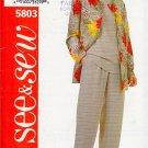 Basic Coordinates Jacket Top Pants Size 12-16 Uncut Butterick 5803 Simple Classic Separates Easy Fit