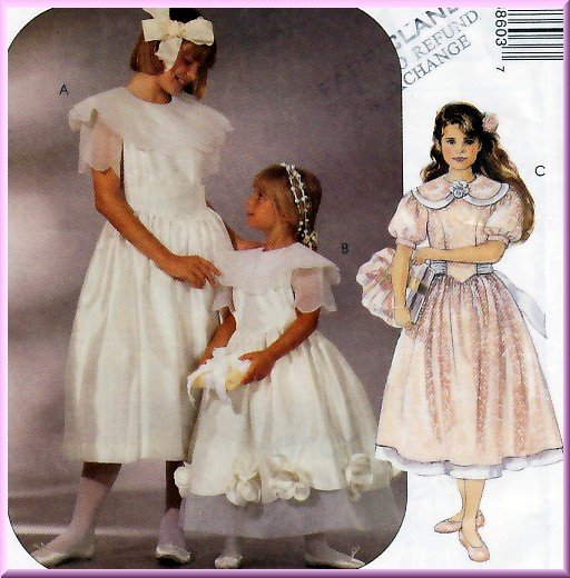 Flower Girl Bridesmaid Dress Size 7-10 McCall's Sewing Pattern 6860 Gathered Skirt Peter Pan Collar