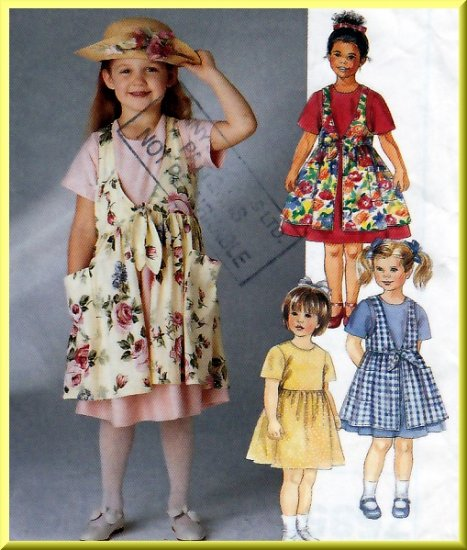 Girls' Casual Summer Dress Pinafore Size 6-8 McCall's Sewing Pattern 7585 Charming Playtime Dress