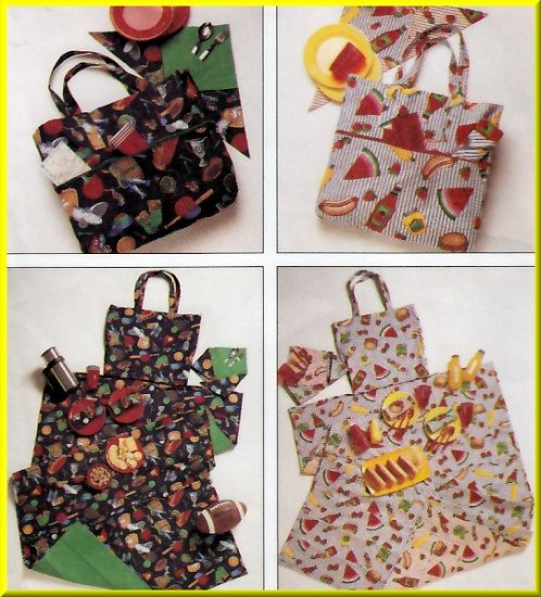 Picnic Beach Tote Bag and Mat McCall's Sewing Pattern 7643 Portable Baby Diaper Changing Accessories