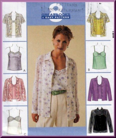 Matching Blouse Camisole Set Size 14-18 Uncut McCall's 9358 Pretty Elegant Feminine Button-up Shirt