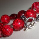 Hot Red Beaded Bracelet Bold Edgy Sexy Stylish Chic Crimson Flame Crackle Glass Beads Gunmetal Chain