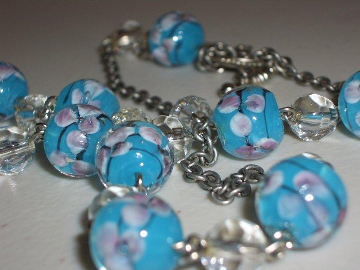 Aqua Blue Cherry Blossoms Beaded Matinee Gunmetal Necklace Romantic Ladylike Pretty Glass Marbles
