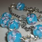 Aqua Blue Cherry Blossoms Beaded Matinee Gunmetal Necklace Romantic Ladylike Pretty Glass Marbles