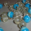 Dainty Charming Aqua and Clear Beaded Opera Necklace Pretty Glow in the Dark Beads Silver Tone Chain