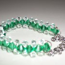 Dewdrops in the Grass Woven Bracelet Delicate Charming Green Clear Faceted Glass Beads Silver Chain