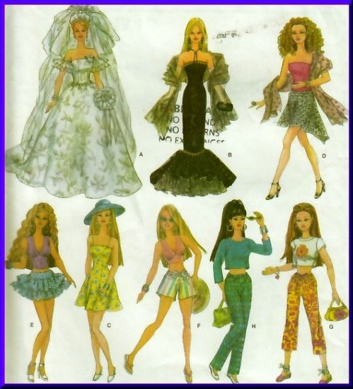 """Trendy Clothing 11.5"""" Dolls Simplicity Sewing Pattern 4719 Evening Bridal Gown Summer Dresses"""