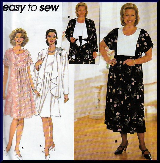 Elegant Draped Flowing Cardigan Dress Plus Size 18W-24W Uncut Simplicity 7558 Pretty Classic Pleats