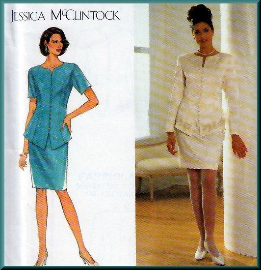 Refined Sophisticated Jacket Skirt Suit Size 18-22 Uncut Simplicity 7597 Elegant Jessica McClintock