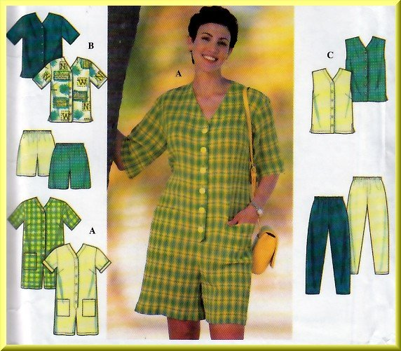 Simple Top Vest and Jumpsuit Plus Size 26W-32W Uncut Simplicity 7673 Mary Duffy Full Figure Solution