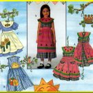 Girls' Dress Apron Size 5-8 Simplicity Sewing Pattern 8098 Watermelon Appliques Dress-up Playtime