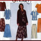 Simple Casual 2-Hour Separates Outfit Size L-XL Uncut Simplicity 8226 Scarf Top Flared Skirt Pants