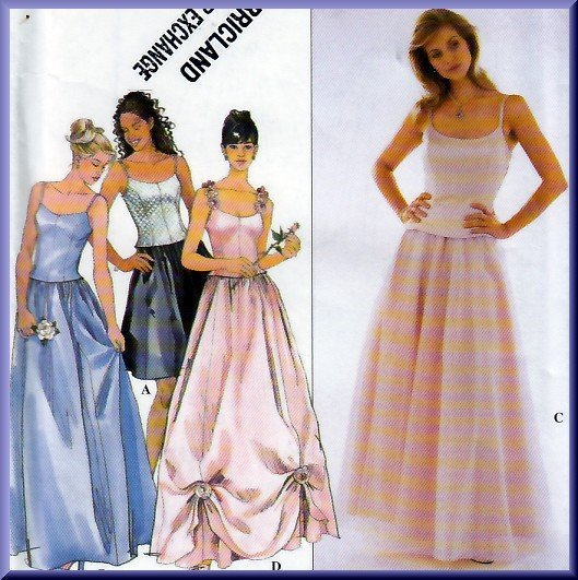 Princess Bustier Top and Ballgown Skirt Size 6-10 Uncut Simplicity 8499 Pretty Prom Party Sweet 16