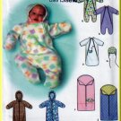 Baby's Fleece Winter Buntings Size XXS-S Simplicity Sewing Pattern 9418 Hat Hood Blanket Mittens