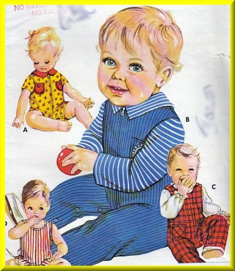 Infants' Babies' Coveralls Overalls Sz S-L Vintage Kwik Sew Sewing Pattern 444 Stretch Knit Fabric