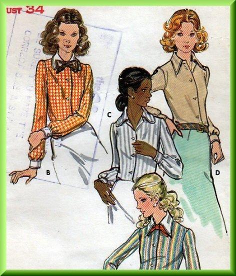 Elegant Vintage Ladylike Blouses Sz 12 Uncut Butterick 6525 Professional Button Shirts Retro Bow Tie
