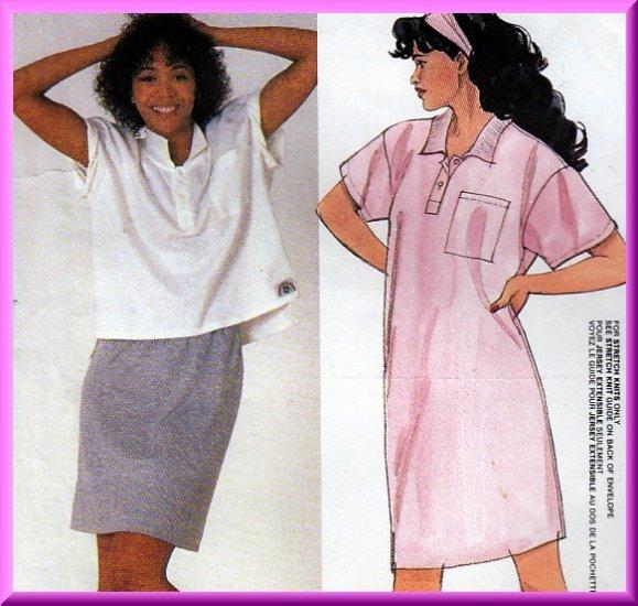 Retro 80s Knit Wear Separates Sz 12-16 Uncut McCall's 9521 Dress Skirt and Top Bubblegum Vintage Set