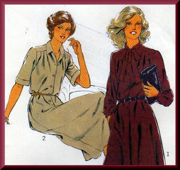 Vintage Secretary Schoolteacher Pleated Dress Sz 14 Uncut Style Sewing Pattern 2564 Bias Neck Tie