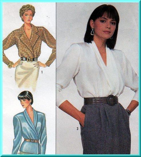 Ladylike Elegant Wrap Peplum Blouses Sz 12 Uncut Simplicity 8390 Vintage 80s Silky Long Sleeve Tops