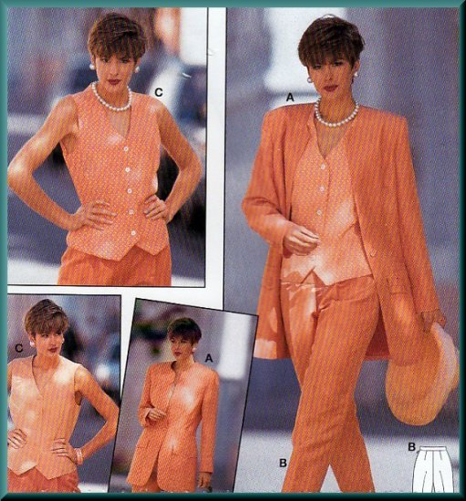 Chic Women's Three Piece Pant Suit Sz 10-20 Uncut Burda 4287 Ladylike Feminine Vest Business Attire
