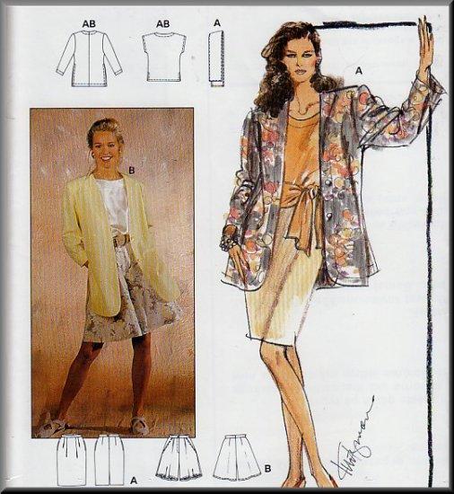 Simple Basic Women's Outfit Ensemble Sz 10-20 Uncut Burda 4820 Cardigan Jacket Top Shorts Skirt Sash