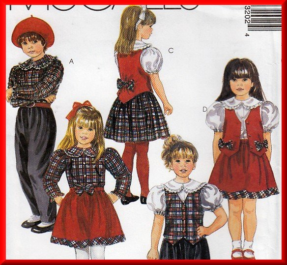 Girl's Sweet Tartan Vest Skirt Pants Size 4-6 McCall's Sewing Pattern 7320 Puff Sleeve Blouse Outfit
