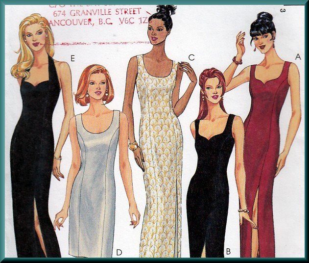 Sexy Glam Slim Evening Gown Sz 10-14 Uncut McCall's 8684 Princess Seams Scoop Neck Sweetheart Halter
