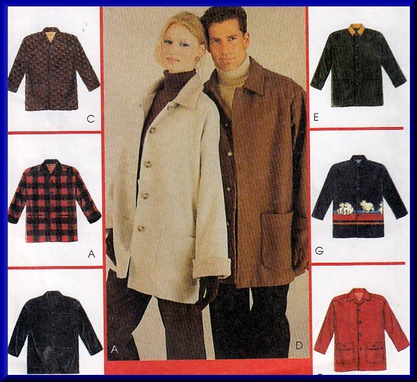 His and Hers Winter Coat Sz M McCall's 9020 Sewing Pattern Button Front Collar Loose Fit Jacket