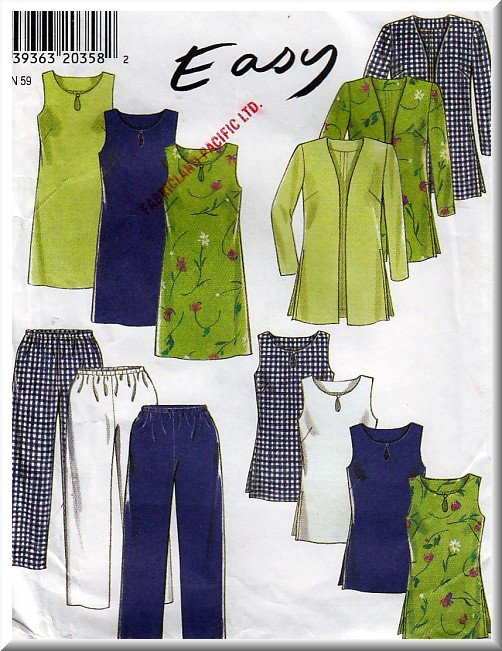 Easy Simple Women's Casual Separates Sz 8-18 Uncut New Look 6627 Mod Basic Pants Dress Tunic Jacket