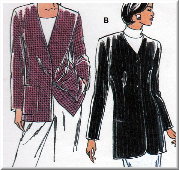 Women's Classic Tailored Jacket Topper Sz Xs-XL Uncut Kwik Sew 2465 Semi-fitted V-neck Princess Seam