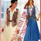 Women's Flowing Skirt Blouse and Vest Sz 6-10 Uncut Butterick 4591 Retro 90s Fitted Lined Waistcoat