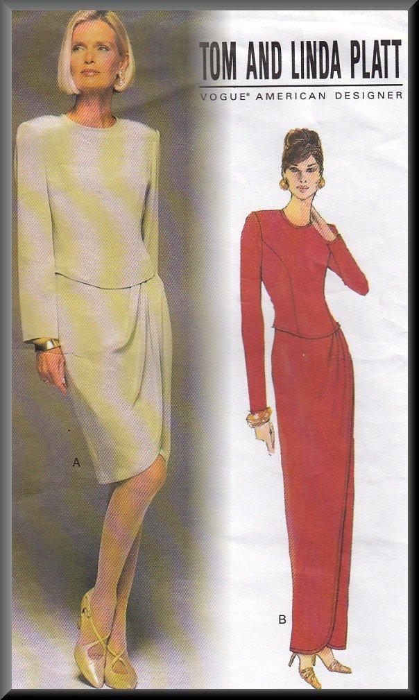 Refined Elegant Pleated Mock-Wrap Front Dress Sz 6-10 Uncut Vogue 1708 Designer Tom and Linda Platt