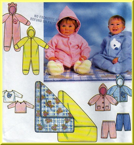 Babies' Hooded Onesie Blanket Set Sz NB-L Simplicity Sewing Pattern 7807 Knit Jacket Shirt Pants