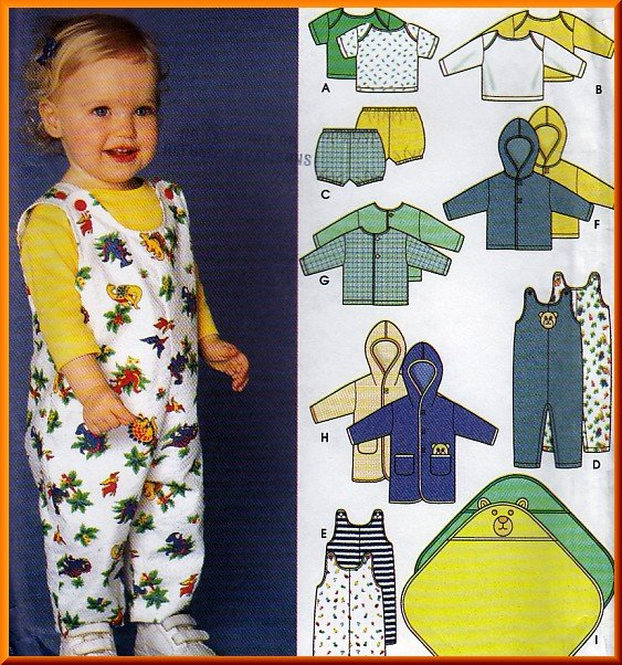 Warm Babies' Layette Set Sz XXS-L Simplicity Sewing Pattern 9275 Hoodies Rompers Jacket Blanket