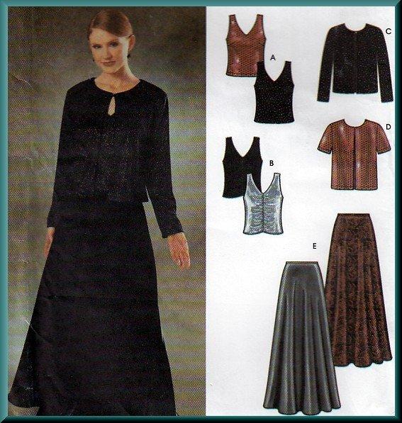 Fancy Evening Gala Skirt and Twinset Sz 10-16 Uncut Simplicity 9948 Jessica McClintock Collection