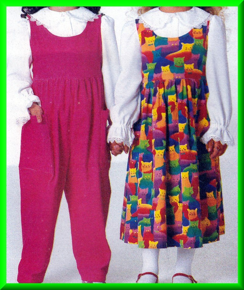 Toddlers' Romper Jumpsuit Jumper Sz 1-3 Butterick Sewing Pattern 4768 Puffy Ruffled Peter Pan Blouse