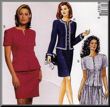 Ladylike Sophisticated Skirt and Jacket Ensemble Sz 8-12 Uncut McCall's 8183 Elegant Feminine Office
