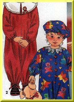 Retro 90s Toddlers' Jumpsuit Sz 2-4 Simplicity Sewing Pattern 7947 Baggy Jumper Puffy Hat Bib Collar