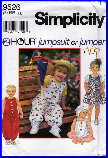 Easy Toddler's Jumpsuit Sz 2-4 Simplicity Sewing Pattern 9526 Jumper Knit Top 2-hour Basic Sewing