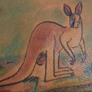 Handpainted Leather Coin Card Wallet Vintage Handmade Kangaroo Motif New Castle Flesh Tone Nubuck