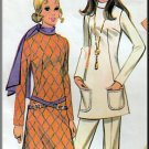 70s Hipster Chic Outfit Sz 12 McCall's Sewing Pattern 2629 Retro Funky Knit Tunic Top Flared Pants