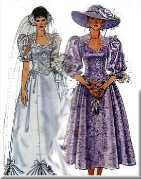 80s Puffy Wedding Gown Sz 10 McCall's Sewing Pattern 4075 Sweetheart Bridal Bridemaids Dresses
