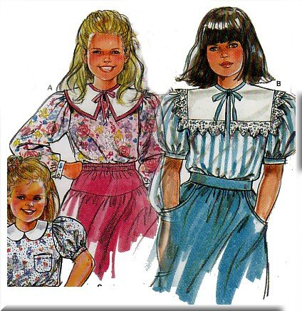 80s Frilly Girls Blouses Sz 3 10 Burda Sewing Pattern 5477 Peter