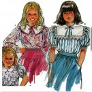 80s Frilly Girls' Blouses Sz 3-10 Burda Sewing Pattern 5477 Peter Pan Sailor Collar Puff Sleeves