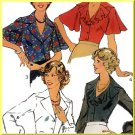 Flirty Frilly Women's Blouses Sz 20 Style Sewing Pattern 1321 Buttons Notched Collar Cuffed Sleeves