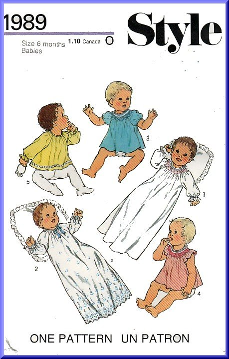 Sweet Angelic Babies' Layette Sz 6M Style Sewing Pattern 1989 Smocked Christening Gown Robe Dress