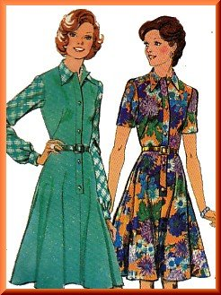 Retro 70s Women's Shirt Dress Sz 18 Style Sewing Pattern 4932 Secretary Office Mary Tyler Moore