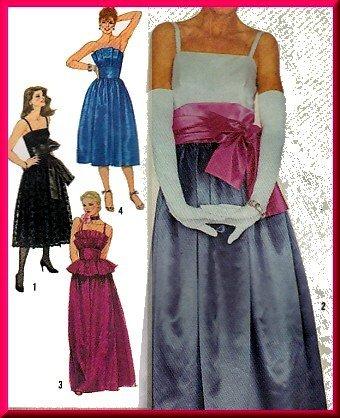 Divine 80s Glam Evening Gown Sz 14 Simplicity Sewing Pattern 6211 Strapless Ruffles Princess Dress