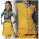 Mod Go-Go Scooter Outfit Sz 12 Simplicity Sewing Pattern 8095 Ascot Tie Blouse Scallop Vest Skirt