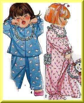 Cute Sleep Pajamas Toddler's Onesies Simplicity Sewing Pattern 9432 Nighttime Doll Pajama Bag